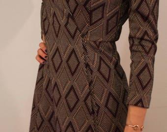 Vintage 1970s Tannel Knit Knee Length Wrap Dress
