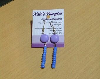 Purple earrings, purple beads, purple jewelery, mauve jewelry, mauve beads, mauve earrings, beaded earrings, sterling silver earrings