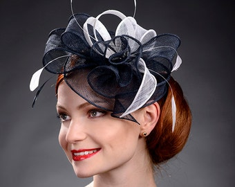 Navy blue  and White fascinator hat for weddings and other special occasions