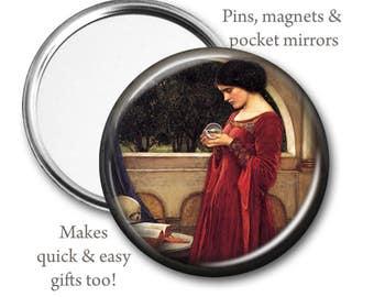 The Crystal Ball Pocket Mirror, Pin, or Magnet, John Waterhouse, famous painting, crystal ball magnet, pagan gift, renaissance
