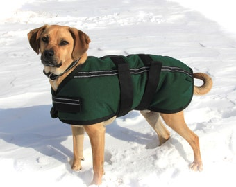 Warm Winter Dog Coat size 20 - waterproof and durable - with reflective stripes