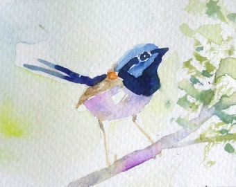 original watercolor painting ACEO fairy wren bird,2.5x3.5 inches