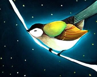 Art - Art Print - Bird Art - Print of Painting - Print of Oil Painting - Bird Art Print - 8x10 Print - Art for Nursery  - Night Bird