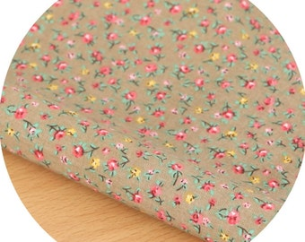 Small flowers Beige Cotton By the yard (width 44 inches) 73086