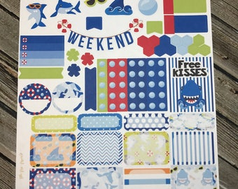 Shark Week Planner Stickers Kit - for use with Erin Condren Stickers - Happy Planner