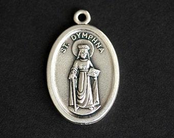 Saint Dymphna Medal. Catholic Pendant. St Dymphna Pendant. Saint Dymphna Charm. Catholic Saint Medal. 25mm x 16mm (Qty 1)