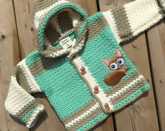 Crochet Sweater, Size 12-18 months, Crochet Baby Sweater, Cat Sweater, Boy Sweater, Girl Sweater, Designed by Bahde