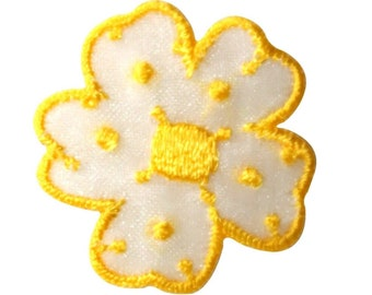 ID 8672 Yellow Spotted Flower Patch Daisy Garden Embroidered Iron On Applique