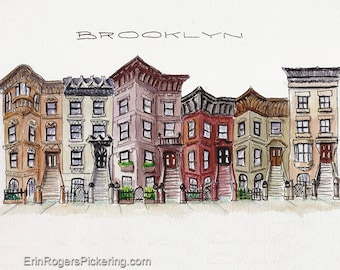 8x10 Brooklyn Brownstones original watercolor and ink illustration