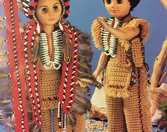 "Indian Chief Outfit Crochet  Pattern for 16"" Male Fashion Doll"