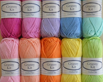 Cotton Yarns 10 colours Granny Kit Ready to ship by CrochetObjet