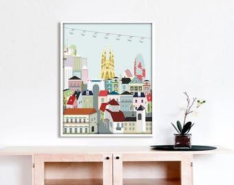 Barcelona print,barcelona city,nursery decor,city print,cities,travel print,spain print,living room art,cityscape,skyline,4 sizes included