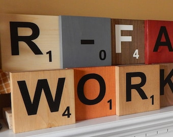 "Wood Scrabble Letter Tiles Large 5.5""x5.5""! Hanging or Display Wall Art! Home Decor! Custom Options Available!"