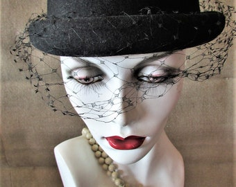 Vintage 1960's 1980's Hat Black Wool Felt Bowler with Veil Netting and Bow