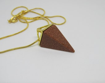 GOLDSTONE Pyramid Shaped Gold Plated Necklace - Mineral, Quartz, Crystal, Stone