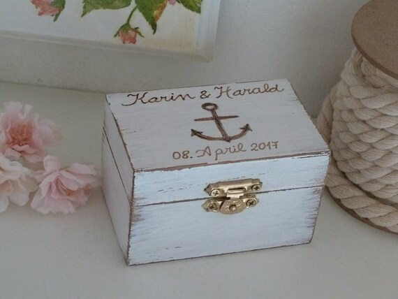 Beach Wedding Ring Box Anchor Ring Holder Personalized Ring