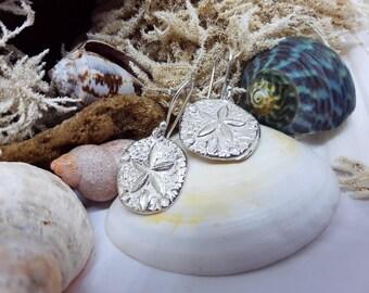 Sea Dollar beach Sterling Silver dangel Earrings
