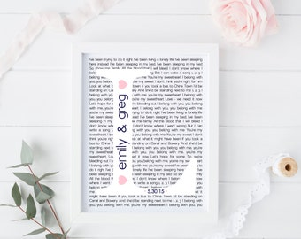 Personalized, Wedding Song Lyric, Wall Art, Decor, Keepsake, Gift