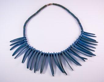 1970s Boho Style Turquoise Wood Necklace