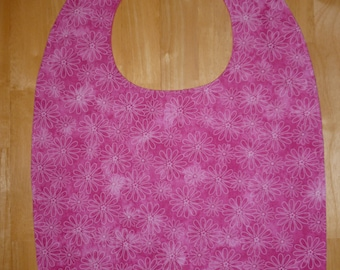 Adult bib / Clothes protector / Special needs bib / Pink flowers