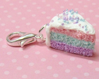 Pastel Cake Charm, Polymer Clay Charm, Food Charm, Rainbow Cake, Miniature Food, Polymer Clay Food, Stitch Marker, Progress Keeper, Planner