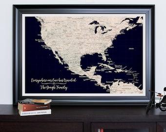 Personalized North America Push Pin Map, Caribbean Map Push Pin, Push Pin Caribbean Map Canvas Print, US Map Print, Push Pin USA Map Print