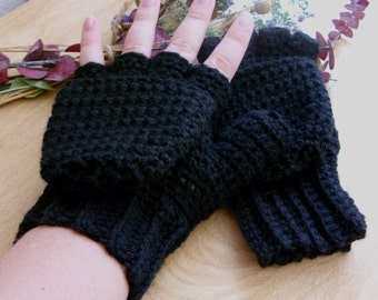 Warm Wool Crocheted Midnight Convertible Fingerless Mittens/Gloves - Black