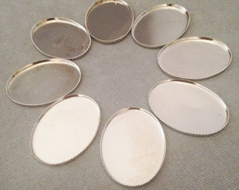 Eight (8) Large Oval Bezel Cabochon , Cameo Settings, Silver Toned, 31 x 23 mm