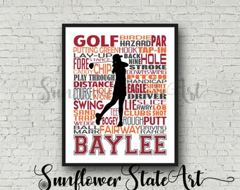 Personalized Golfing Poster, Golfing Typography, Golfer Word Art,  Gift for Golfer, Golfer Gift, Golfing Gift Ideas, Golfing Team Gift