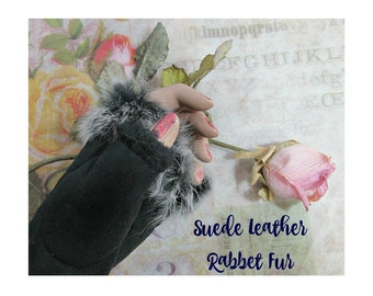 Gloves and mittens - winter gloves -finger less gloves - black gloves -hand warmers - leather finger-less gloves  -