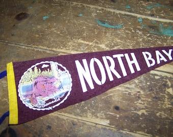 Vintage Felt Souvenir Pennant North Bay Ontario Canada 21 Inches Beaver Theme