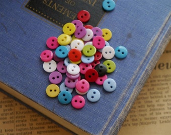 "100 pcs Small 2 Hole Shiny Assorted Colors Buttons 9mm 3/8"" (MXB2066)"