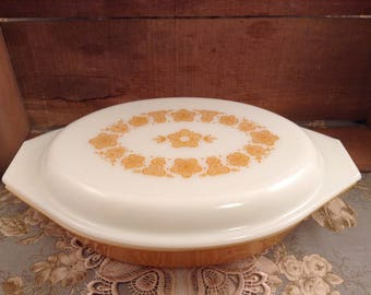 Vintage Pyrex Golden Butterfly Divided Casserole Dish with Lid