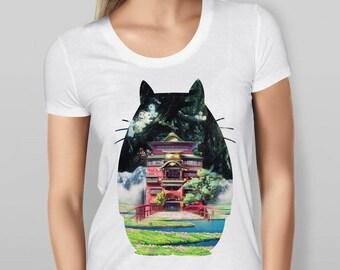 Womens Totoro and Studio Ghibli Scenes Silhouette - White T-shirt