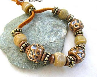 Mens Bracelet, Earthy Brown Tan Chunky Beaded Bracelet, Rustic Antiqued Brass, Leather, Tribal Style, Gift for Husband, Present for Him B263