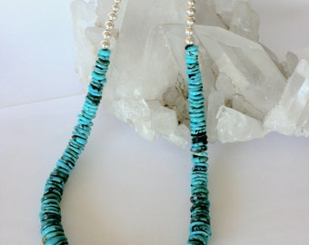 Turquoise & Sterling Silver Beaded Necklace