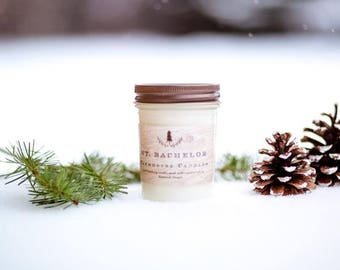 Mt. Bachelor woodsy scented Soy Wax Candle/pine and spruce scented candle/made with essential oils/All-Natural soy candle/Farmhouse decor