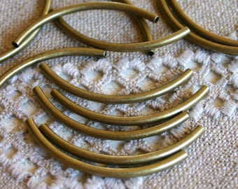 500pcs Metal Beads Antiqued Gold Plated Curved Tube 50x3mm