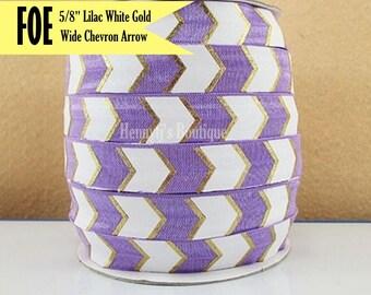 "Lilac/White/Metallic Gold Foil : Wide CHEVRON / ARROW Fold Over Elastic Printed foe - 5/8"" foe 2, 5, 10 Yards. DIY Headband Supplies"