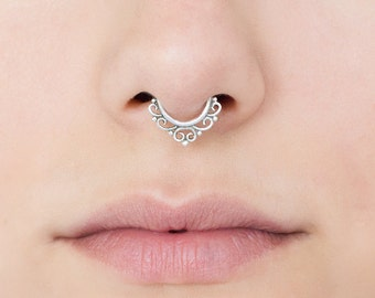 16g Silver Septum Ring for pierced nose. septum piercing. tribal septum ring. septum jewelry.