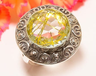 RINGS: Golden Rutilated Quartz Ring, Sterling Silver, Handcrafted Silver, Ring Size 7