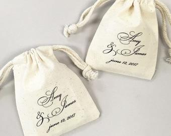 12 pcs Personalized Wedding Script Muslin Favor Bags (MICPFSCRTLM45-CL)