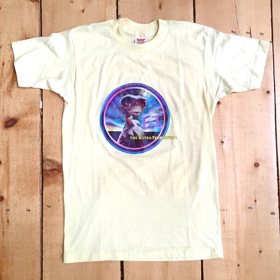 Vintage 80s Yellow ET the Extra Terrestrial Butter Soft 50/50 T Shirt - Small L1u6ek5w9