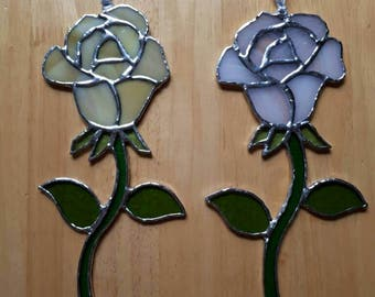 Stained glass rose suncatcher White Yellow blue red purple pink Sun catcher Valentine gift Mother gift Love Friendship gift for her under 30