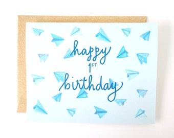 Happy 1st Birthday airplanes card. Children's card. Boy card.