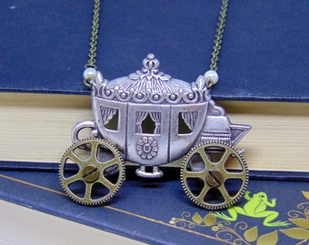 Cinderella Carriage Necklace with Moving Wheels - Cinderella Jewellery - Fairytale Necklace - Fairy Godmother