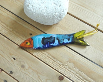 large multicolored sardine - ceramic-made hand-decoration gift wall art Navy ceramic