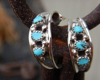 Sterling Silver and Turquoise Hoop Earrings Native American Navajo Handmade Post Earrings