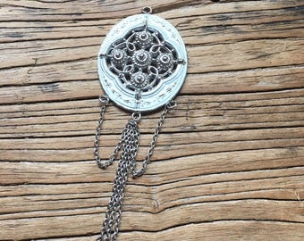 Vintage Silver and White Filigree Dangle Chain Pendant, Statement Pendant, Vintage Jewelry, Jewelry for Women, Vintage Necklace