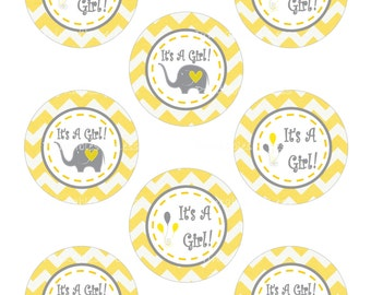 DIY Its A Girl Cupcake Topper, Yellow Gray Chevron Cupcake Topper, DIY Yellow Gray Toppers, DIY Elephant Cupcake - By Printables 4 Less